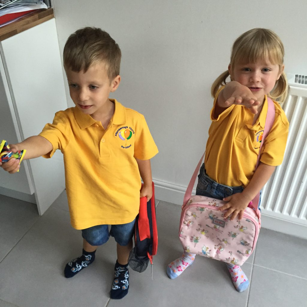The twins' last day at pre-school