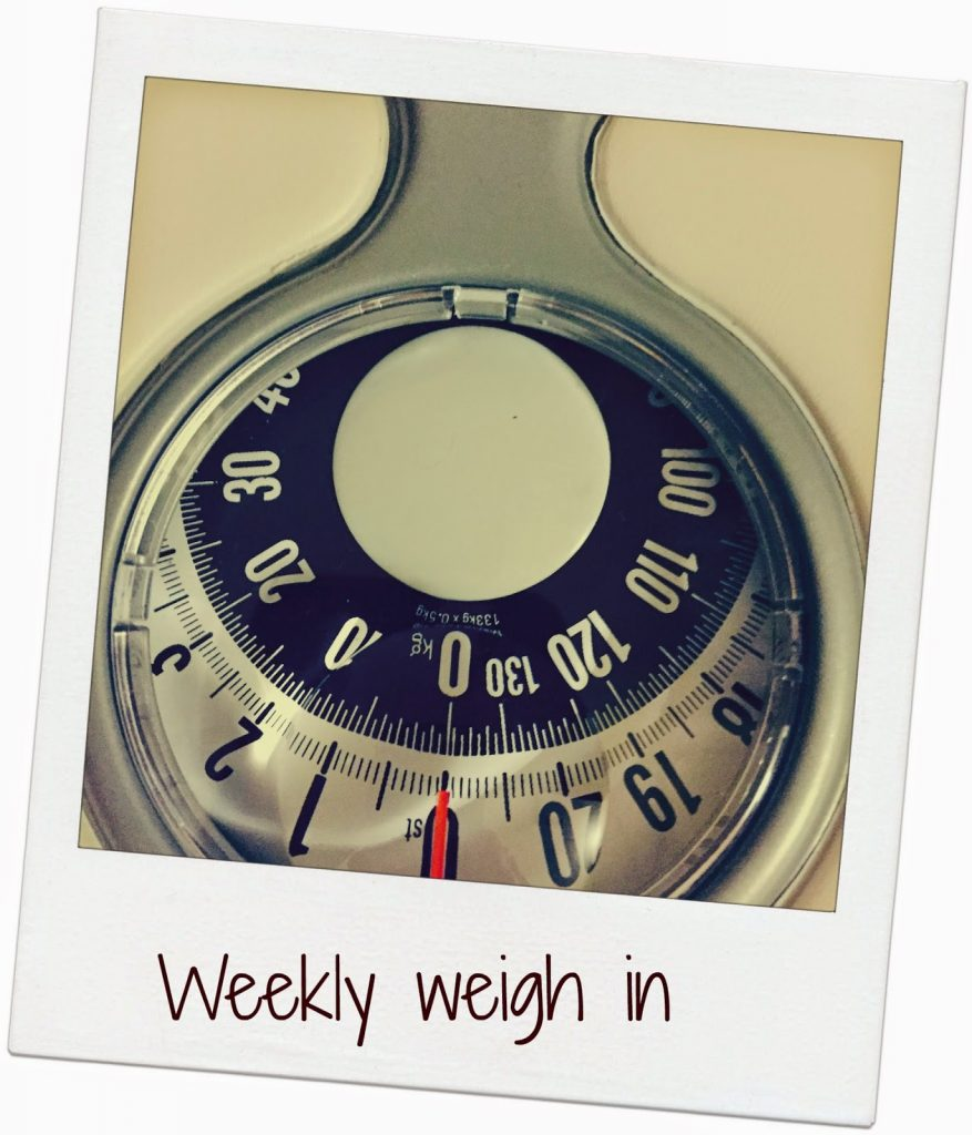 Weekly weigh in – back on the wagon!