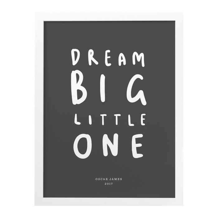 dream-big-little-one-quote-typography-personalised-childrens-kids-print-charcoal-white-frame_x700